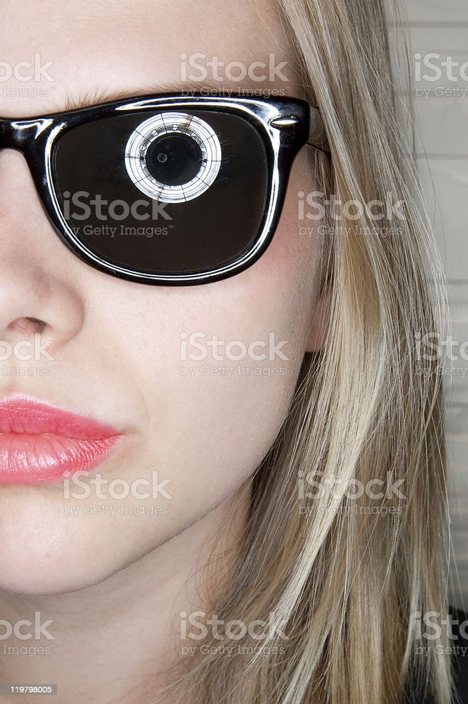 portrait of stylish casual girl with sunglasses stock photo