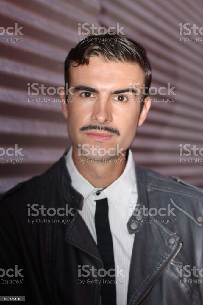 Portrait of stylish man with a mustache stock photo