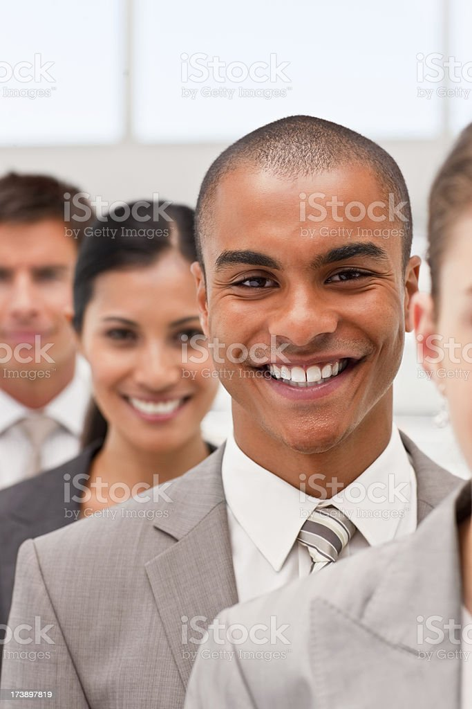 Portrait of successful business colleagues standing in a line royalty-free stock photo