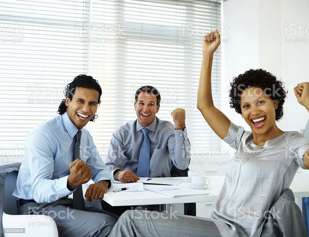 Portrait of successful business people laughing royalty-free stock photo