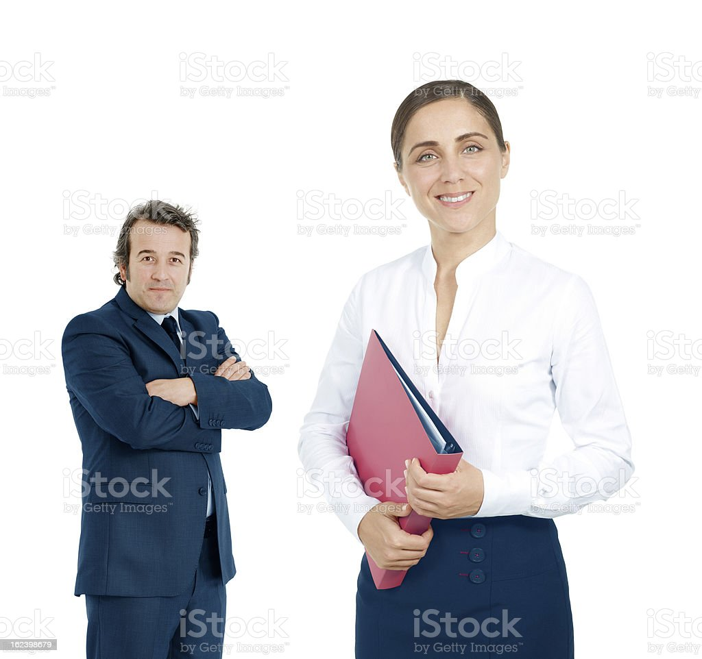 Portrait of successful businesswoman and business team royalty-free stock photo