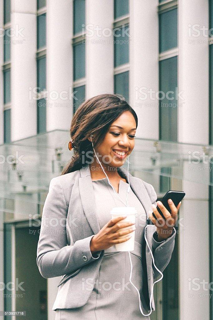 Portrait Of Successful Businesswoman During Coffee Break stock photo