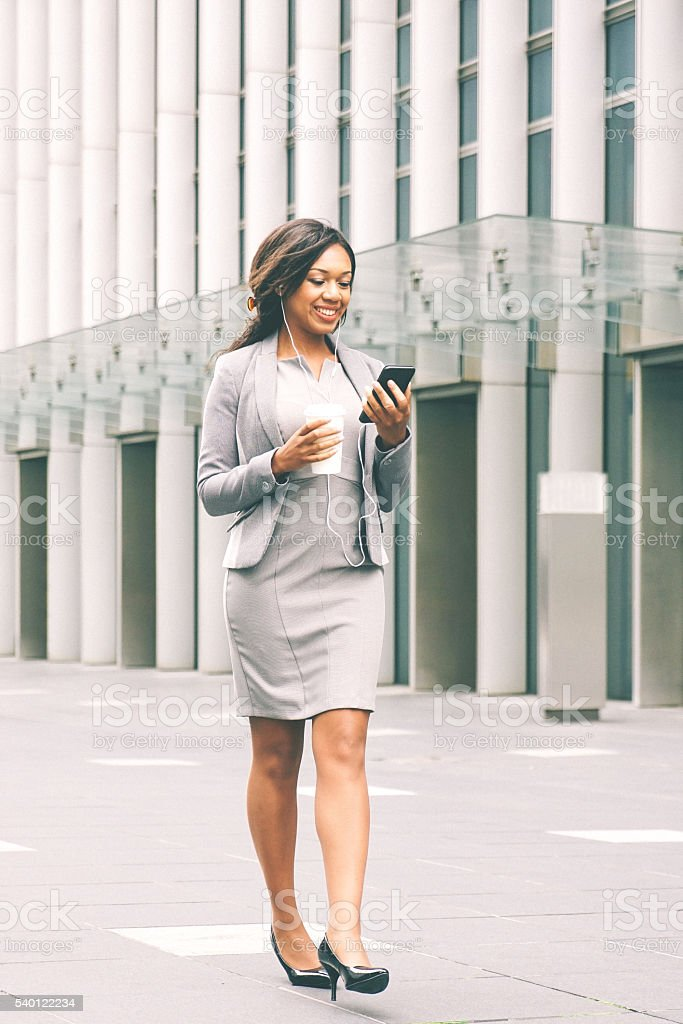 Portrait Of Successful Businesswoman During Coffee Break stock photo