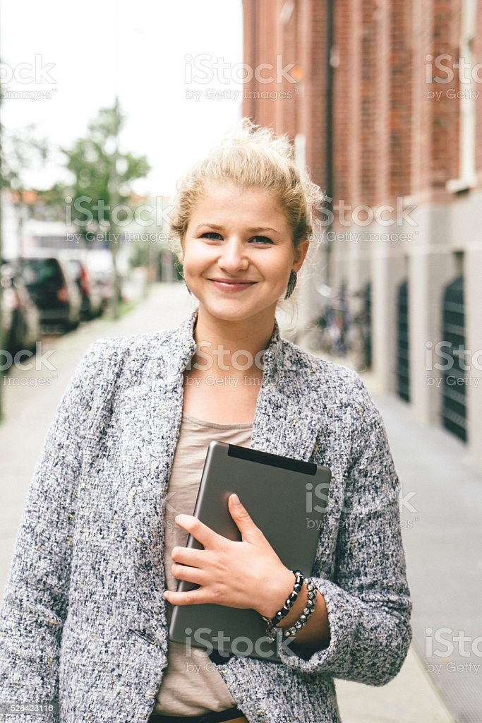 Portrait Of Successful Businesswoman In Urban Landscape stock photo