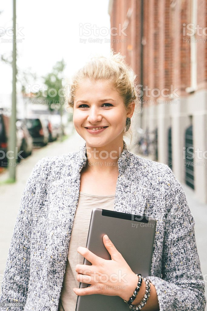 Portrait Of Successful Businesswoman In Urban Landscape stock photo