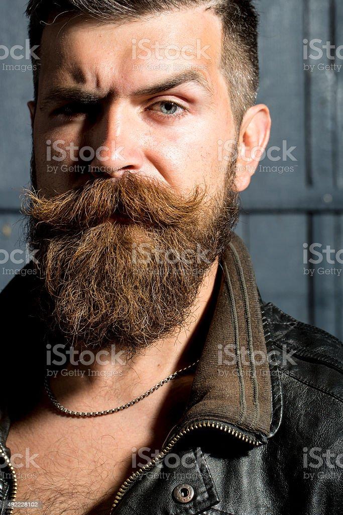 Portrait of sullen man stock photo