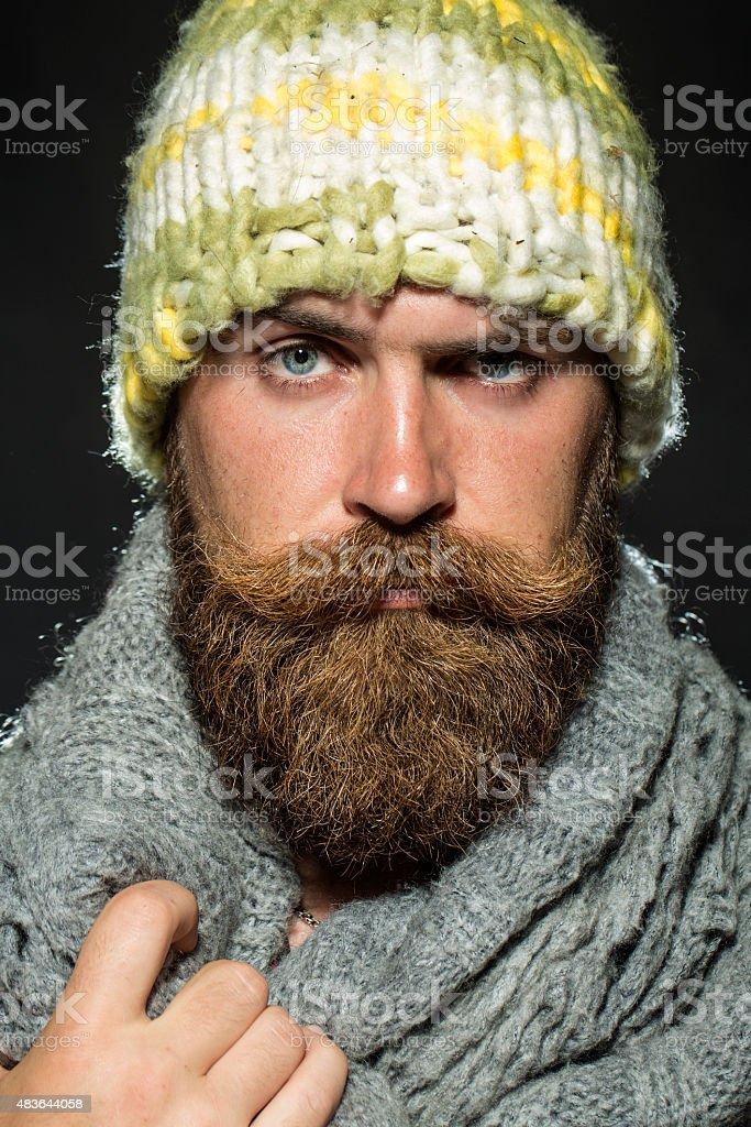 Portrait of sullen tramp man stock photo