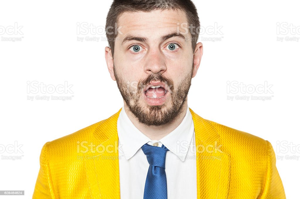 Portrait of surprised businessman stock photo
