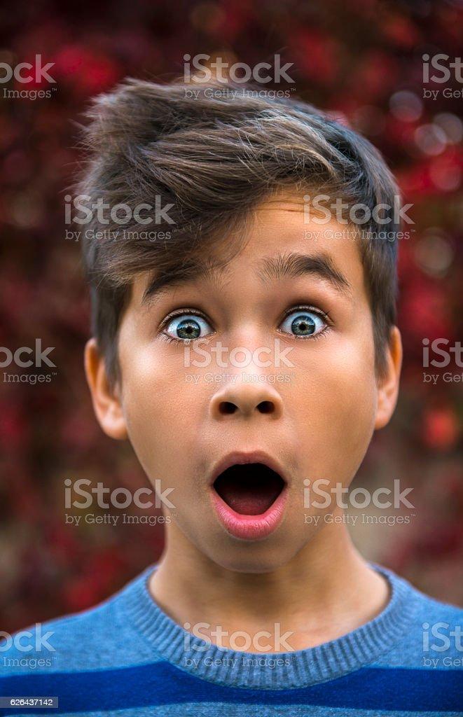 Portrait of surprised little boy stock photo