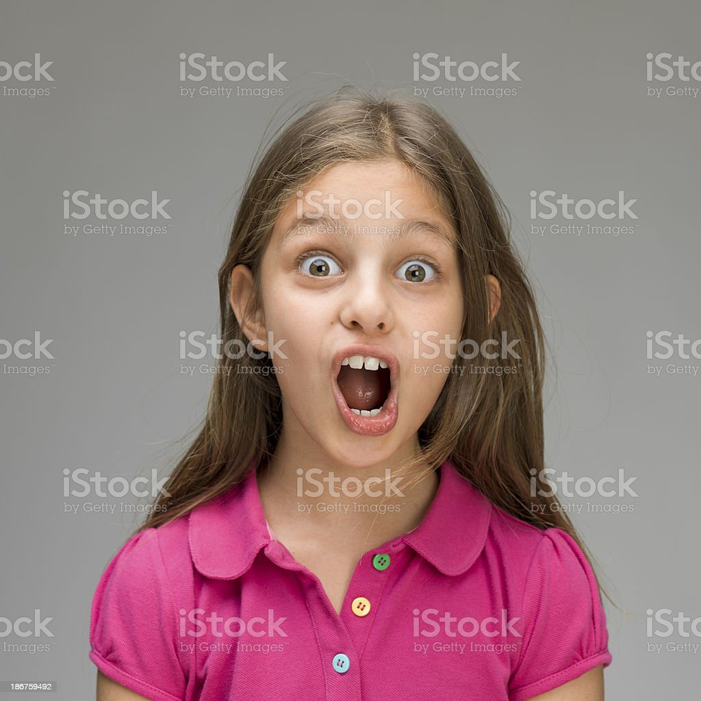 Portrait of surprised little girl royalty-free stock photo
