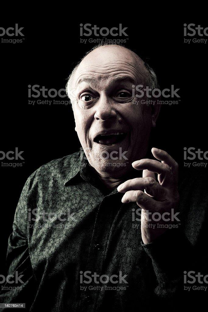 Portrait of Surprised Senior Man stock photo