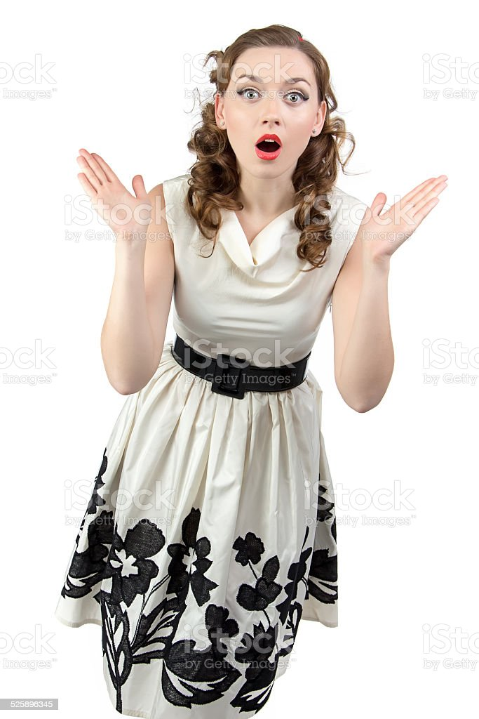 Portrait of surprised woman with open mouth stock photo