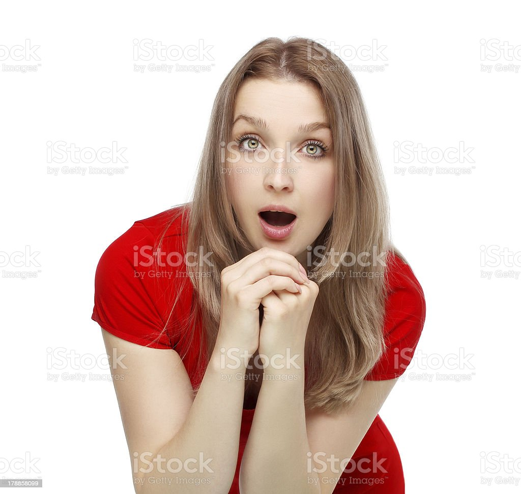 Portrait of surprised young woman.White bacground royalty-free stock photo
