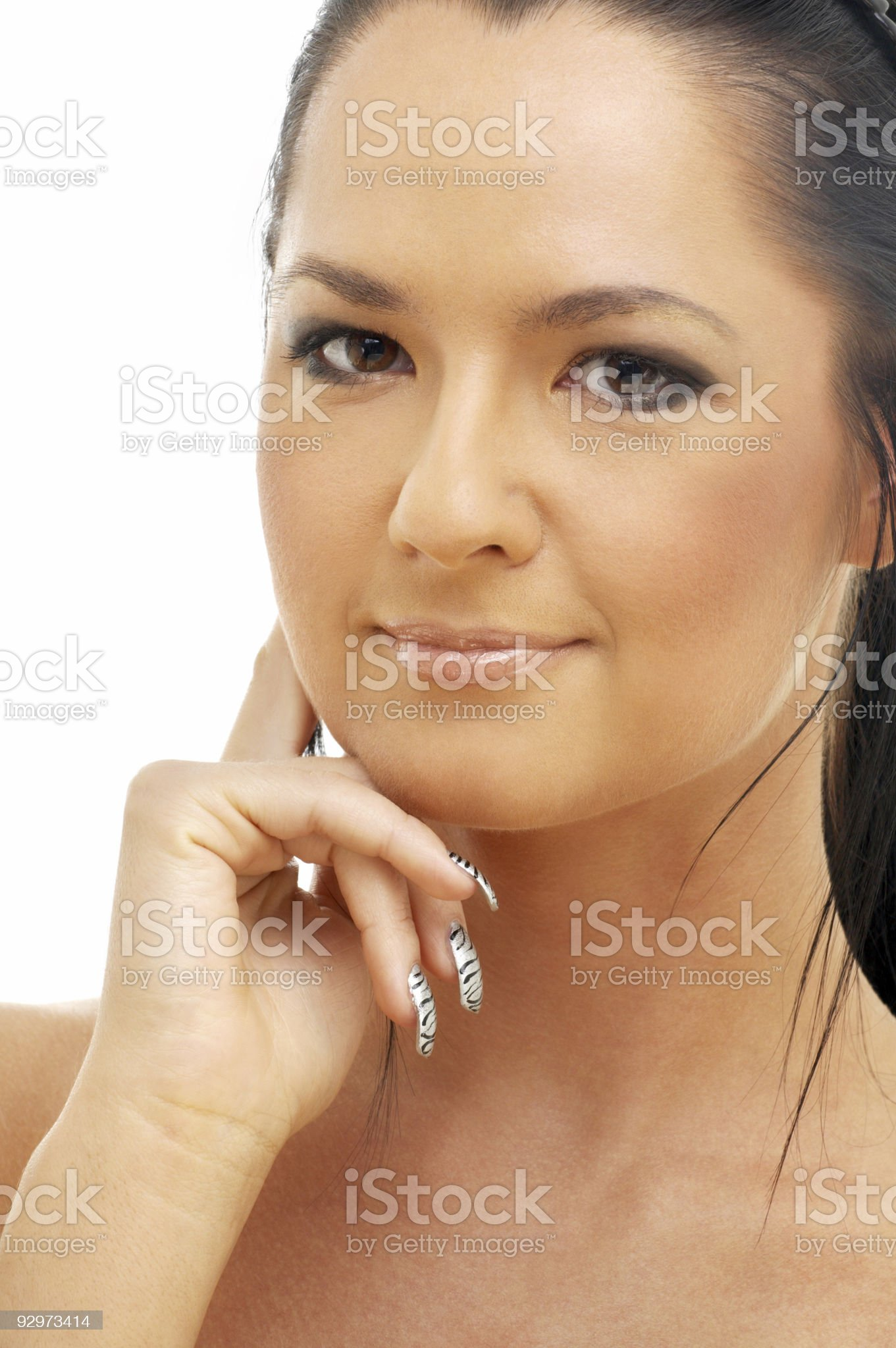 portrait of tanned brunette royalty-free stock photo