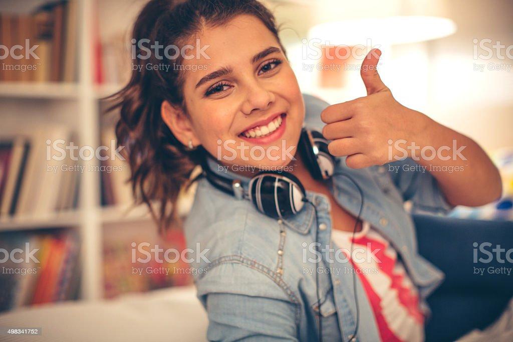 Portrait of teehage girl. stock photo