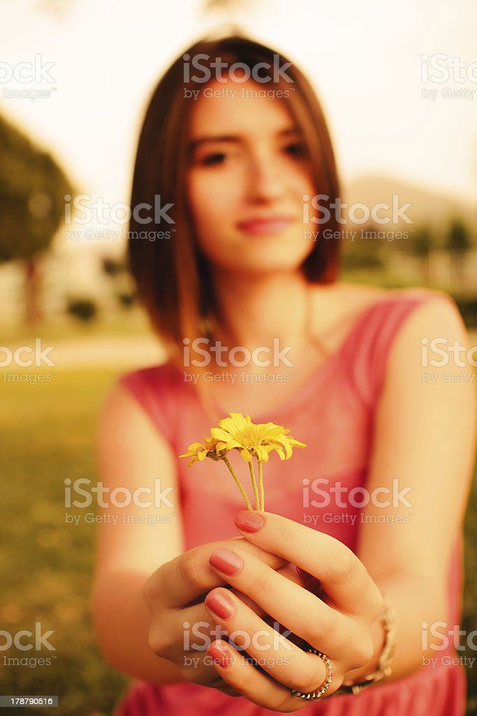 Portrait of teenage girl with summer royalty-free stock photo