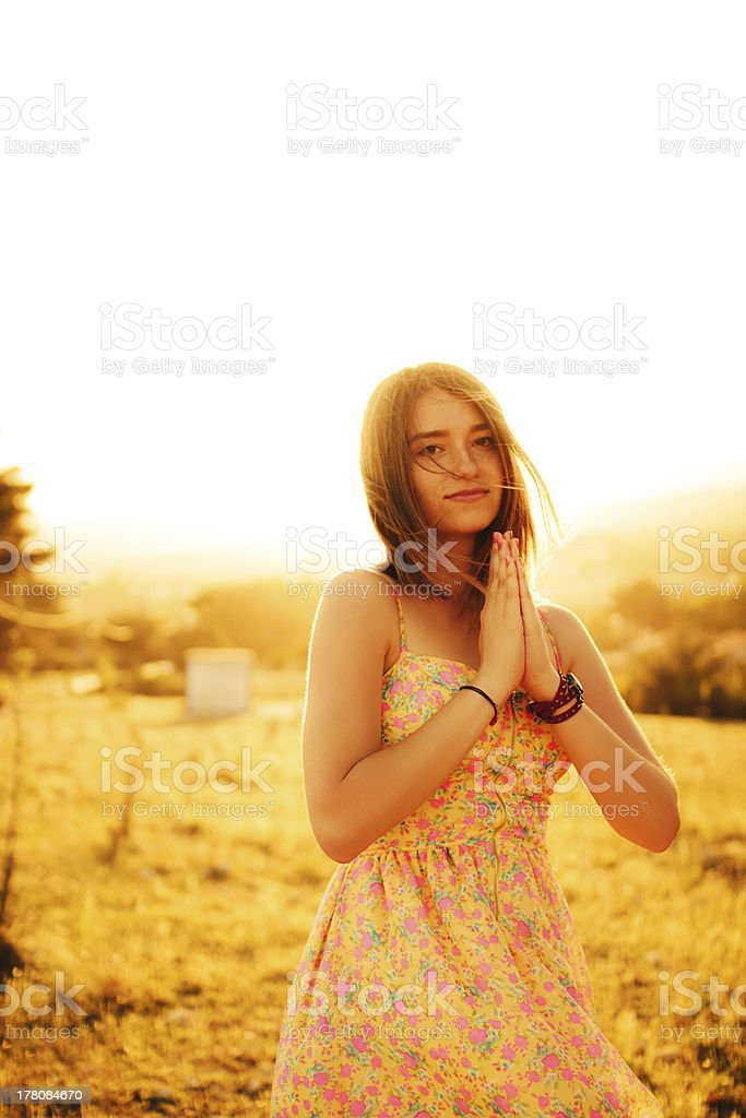 Portrait of teenage girl with sunset royalty-free stock photo