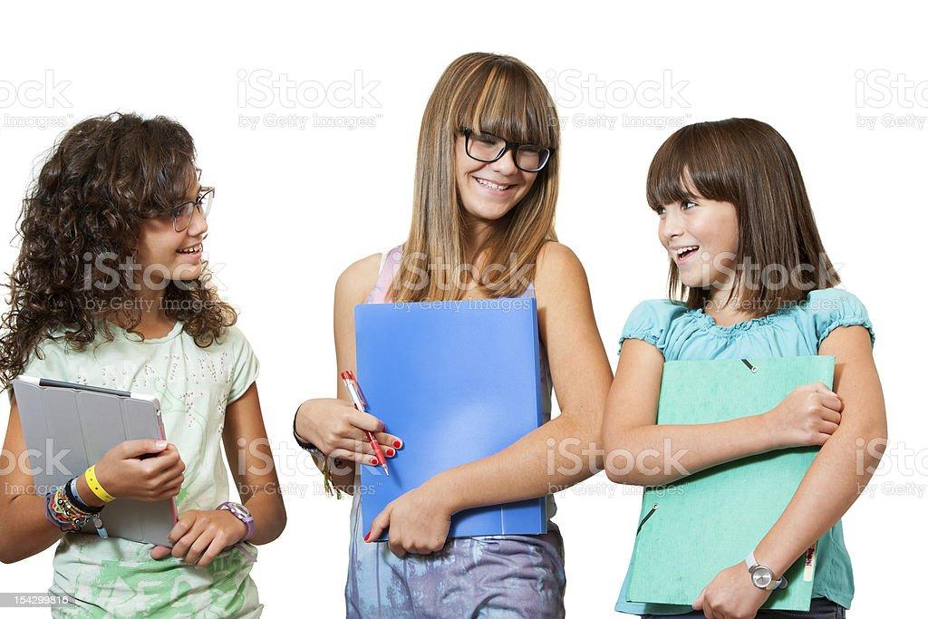 Portrait de teenage étudiants avec les fichiers. photo libre de droits
