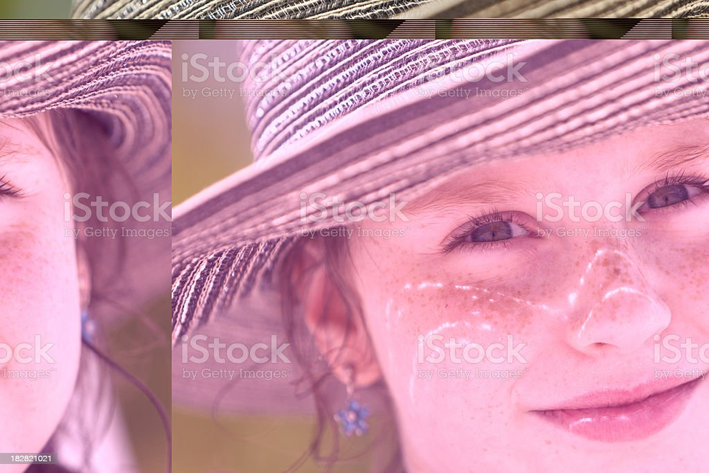 portrait of teenager girl in the big hat stock photo