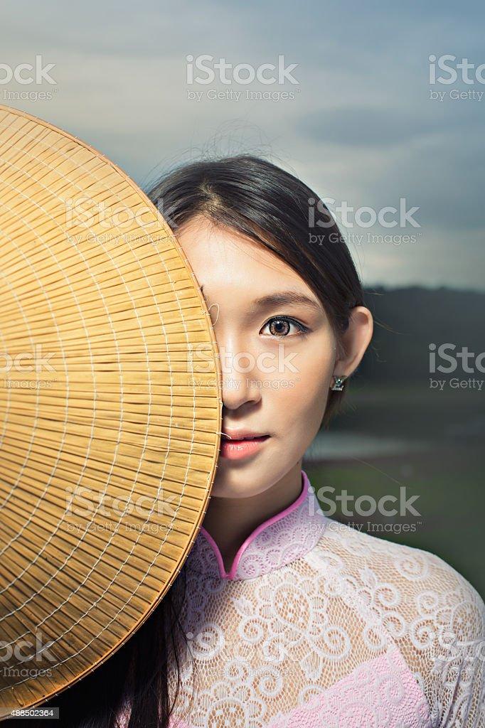 Portrait of Thai girls with Ao Da stock photo