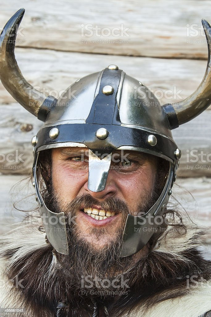Portrait of the angry viking stock photo