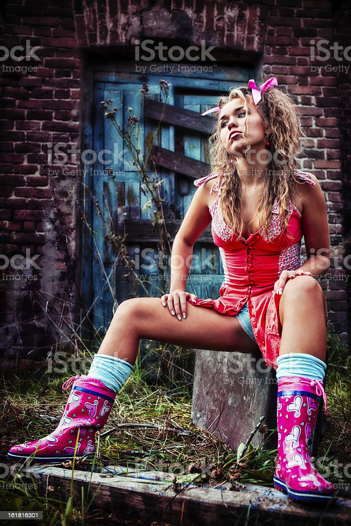 Portrait of the arrogant and unhappy teenager - dolls royalty-free stock photo