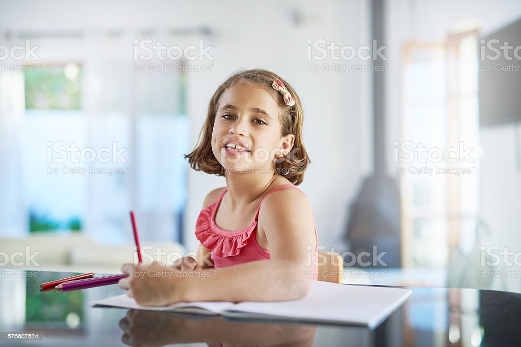 Portrait of the artist as a young girl stock photo