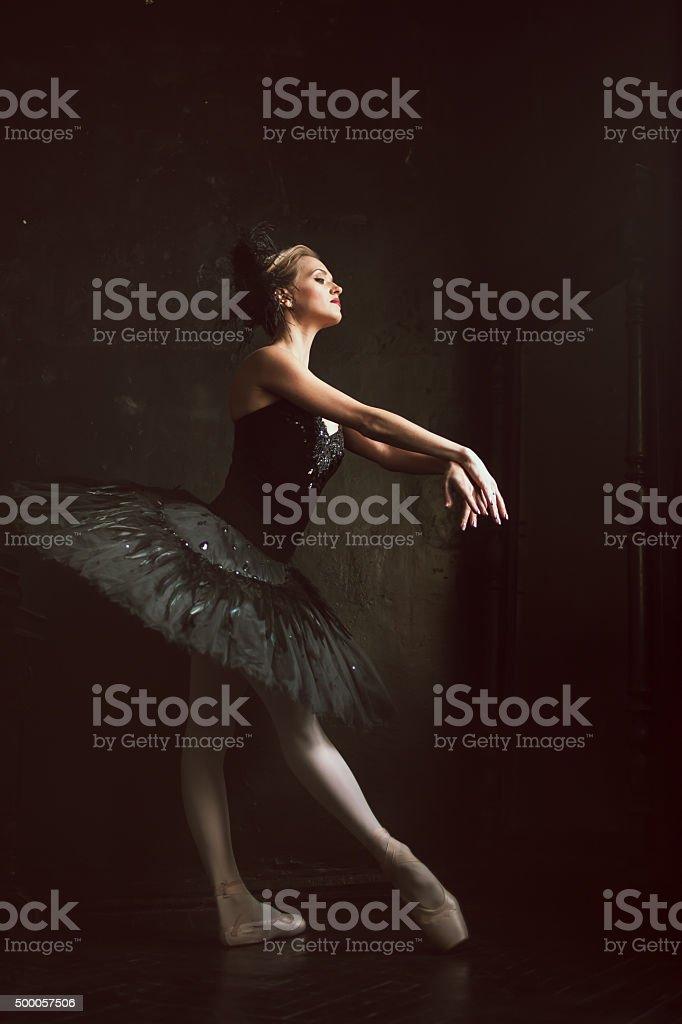 Portrait of the ballerina in ballet tatu on black background stock photo