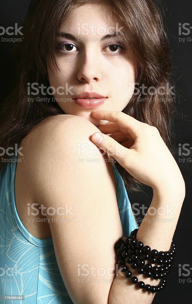 Portrait of the beautiful brunette royalty-free stock photo