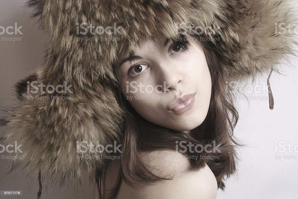 Portrait of the beautiful girl in a fur cap royalty-free stock photo