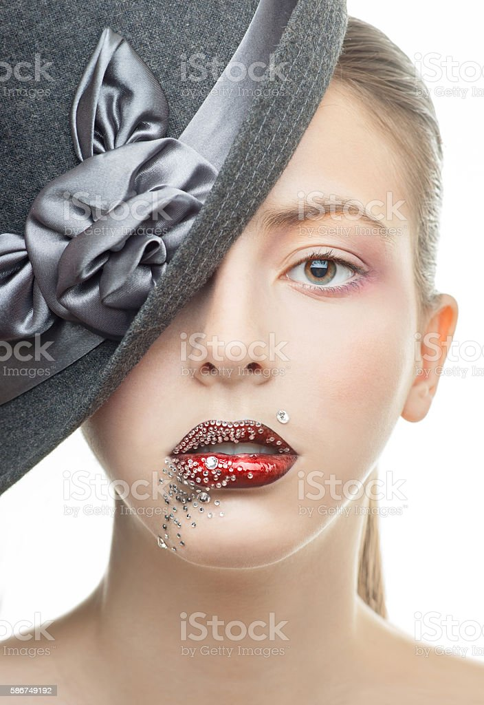 Portrait of the beautiful girl with a red lipstick stock photo