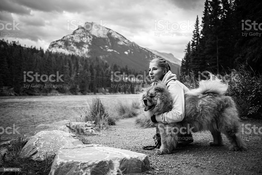 Portrait of the beautiful girl with chow-chow dog stock photo