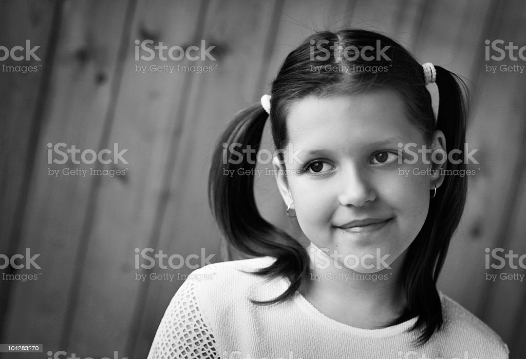Portrait of the beautiful little girl stock photo