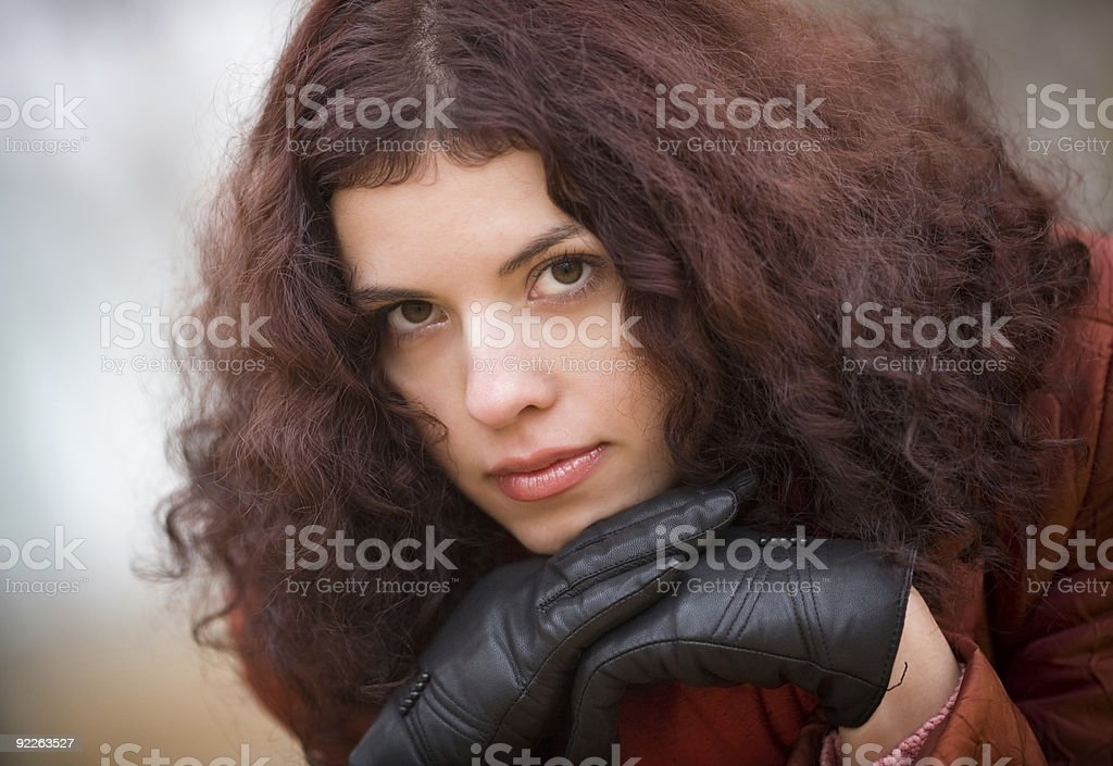 Portrait of the beautiful thoughtful girl royalty-free stock photo