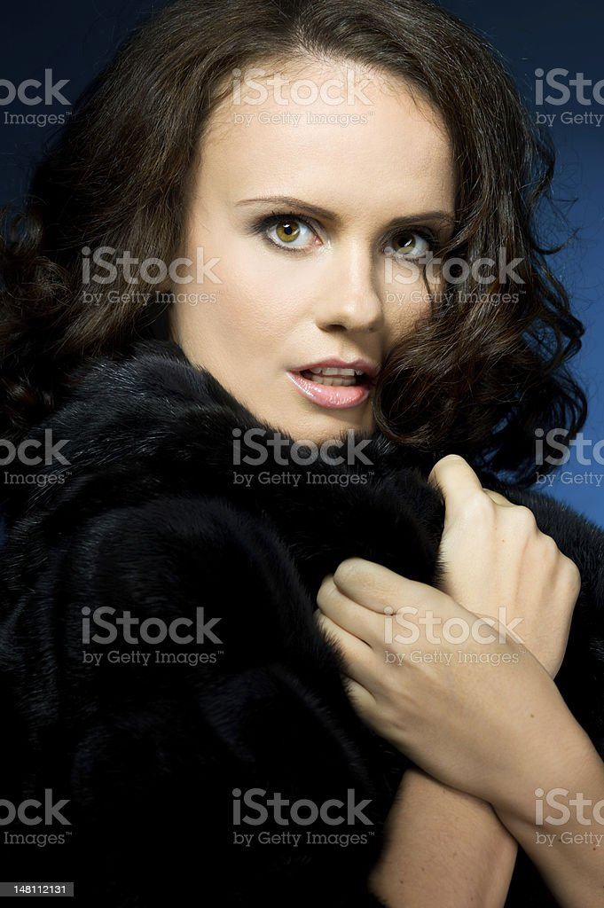 Portrait of the beautiful woman in a mink coat stock photo