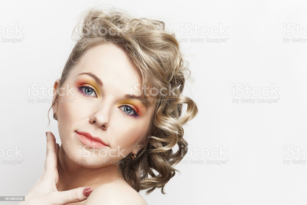 portrait of the blonde woman (curly hair) royalty-free stock photo