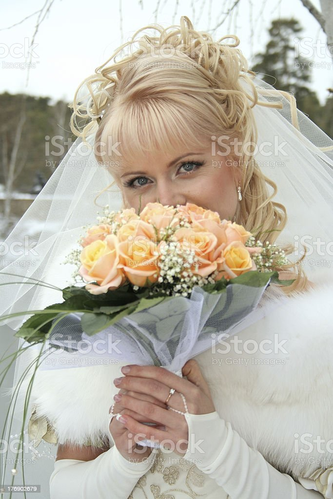 Portrait of the bride with wedding bouquet royalty-free stock photo