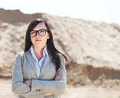 Portrait of the brunette business woman