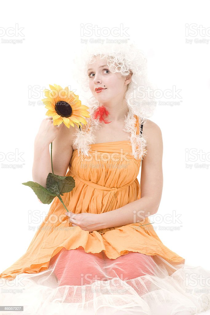 Portrait of the clown with sunflower royalty-free stock photo