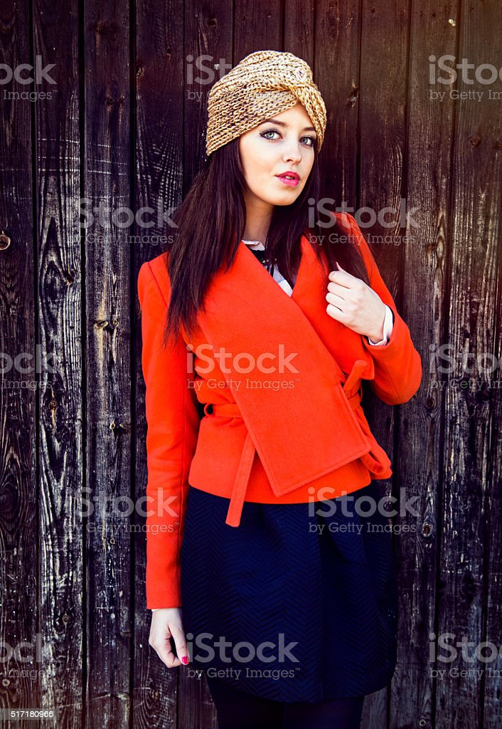 Portrait of the fashionable woman in a turban stock photo