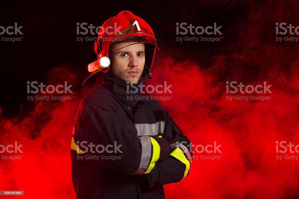Portrait of the fireman stock photo