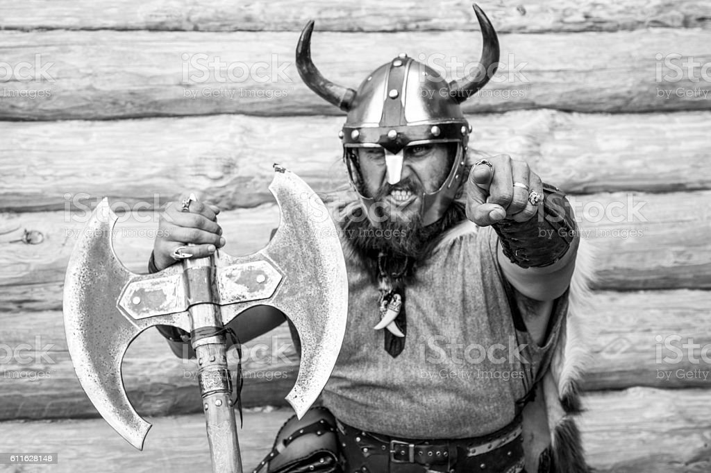 Portrait of the furious strong angry viking stock photo