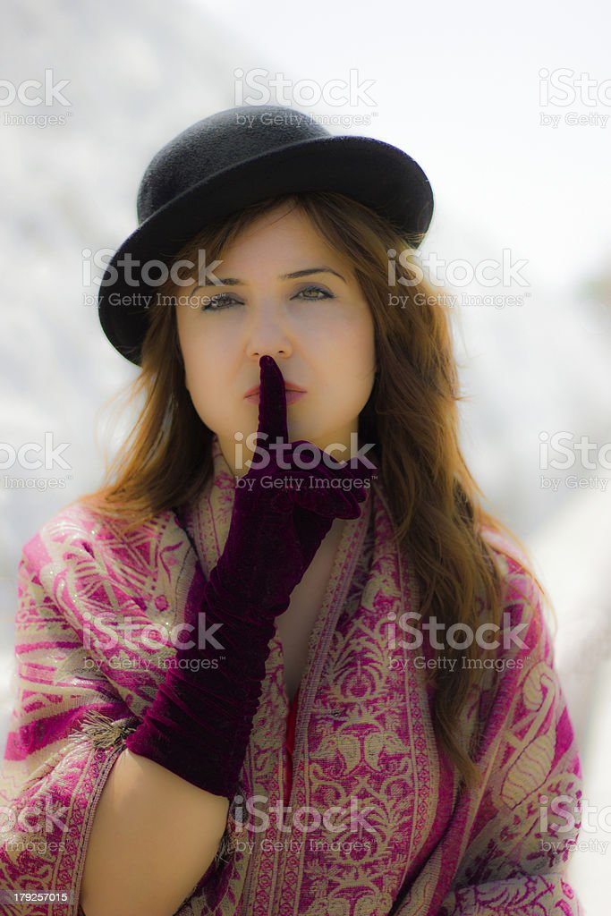 portrait of the girl who says shut up royalty-free stock photo