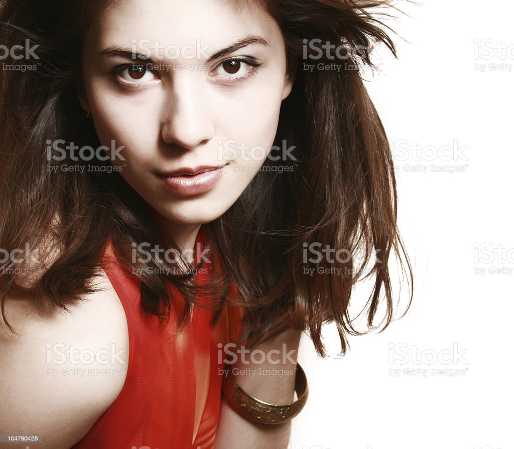 Portrait of the girl with a red scarf. royalty-free stock photo