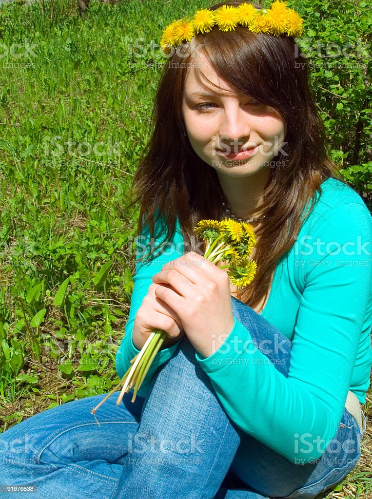 Portrait of the girl with flowers royalty-free stock photo