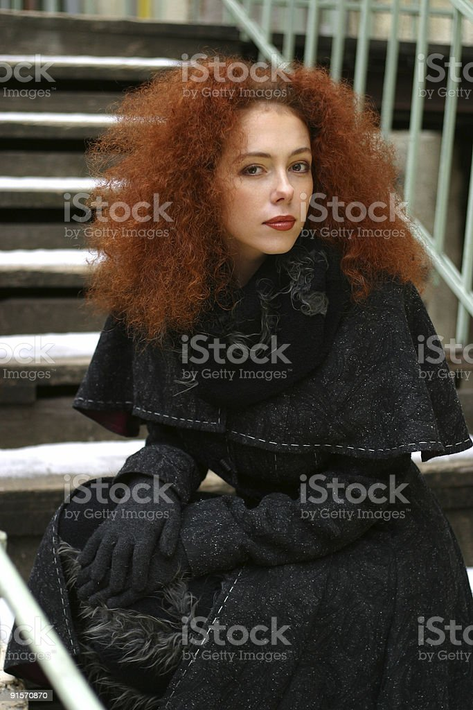 Portrait of the girl with red hair royalty-free stock photo
