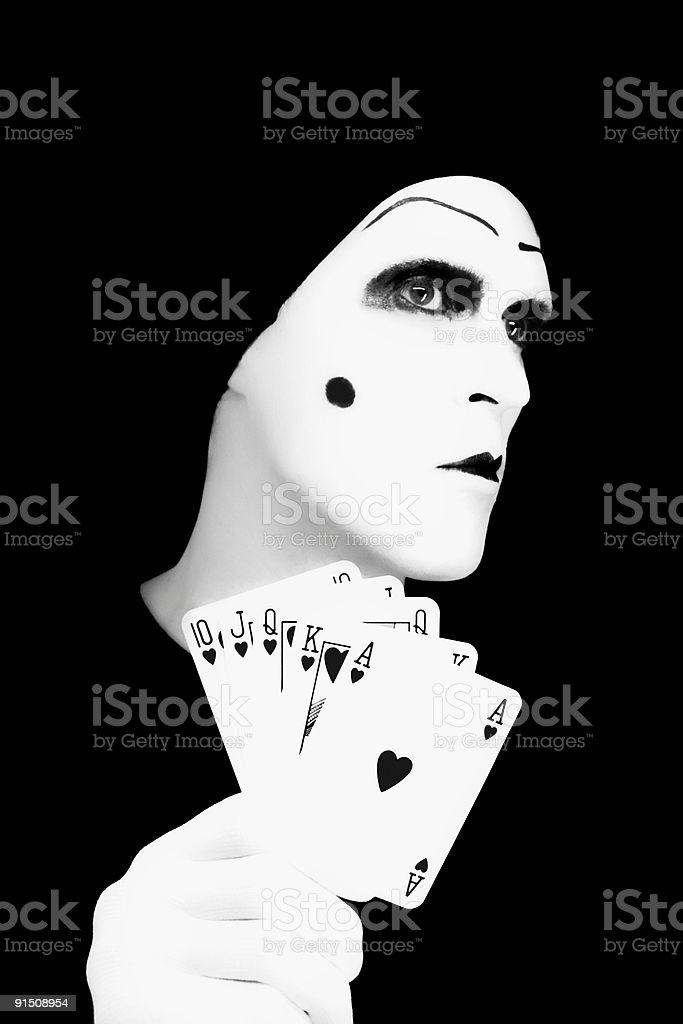 Portrait of the mime with Royal Flush royalty-free stock photo