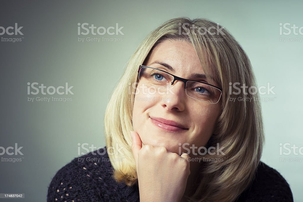 Portrait of the pensive woman royalty-free stock photo