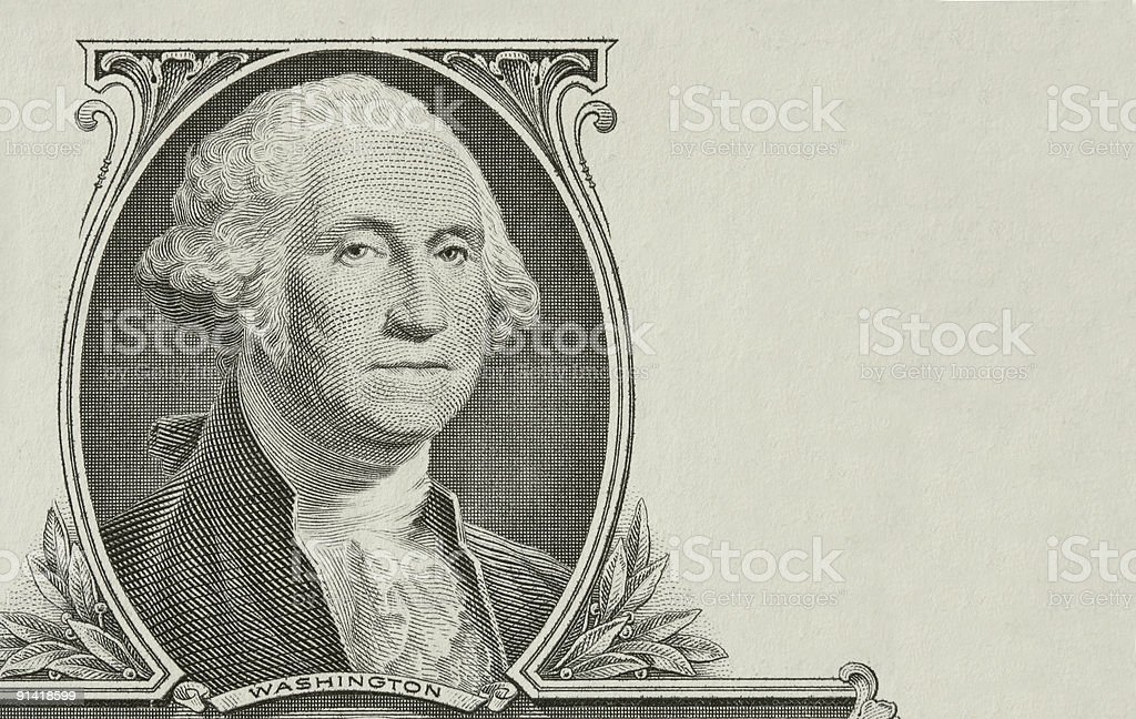Portrait of the president Washington stock photo
