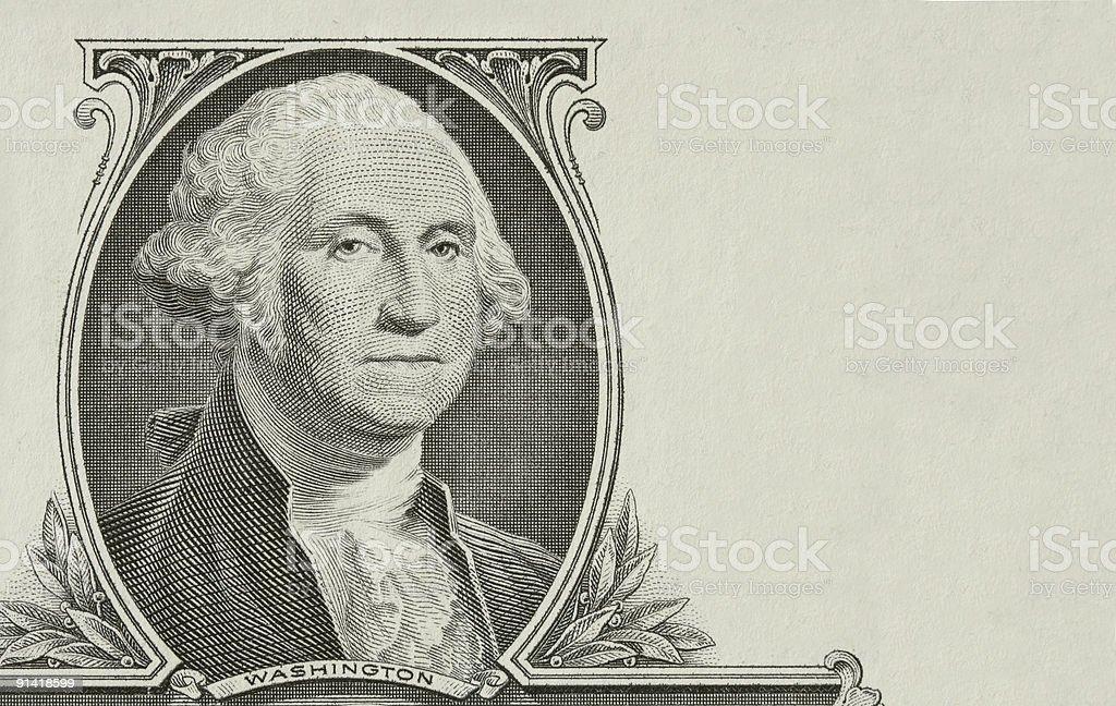 Portrait of the president Washington stock photo